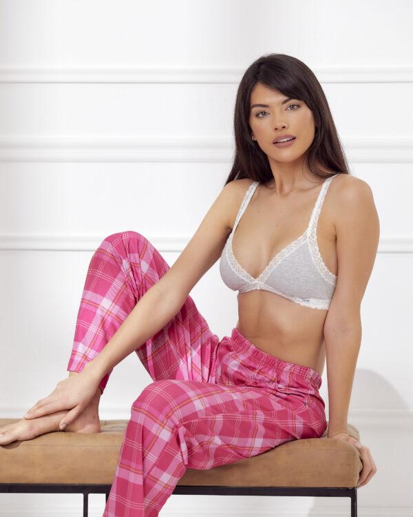 Pantalon escocés color rosa